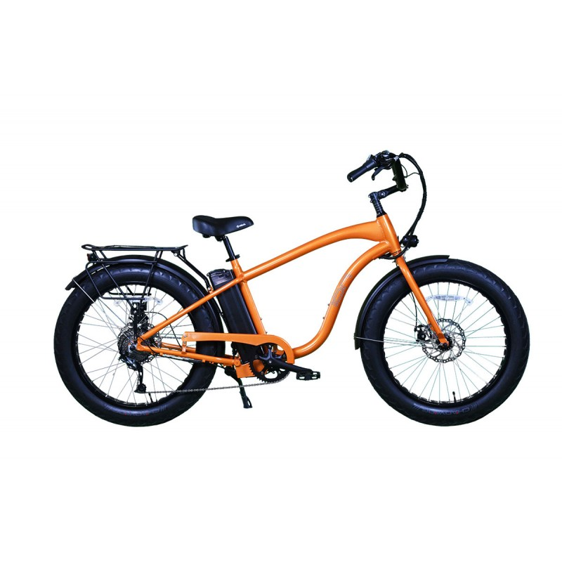 "ION EZ Rider Fat Tire Electric Beach Cruiser in ""Orange Blaze"""