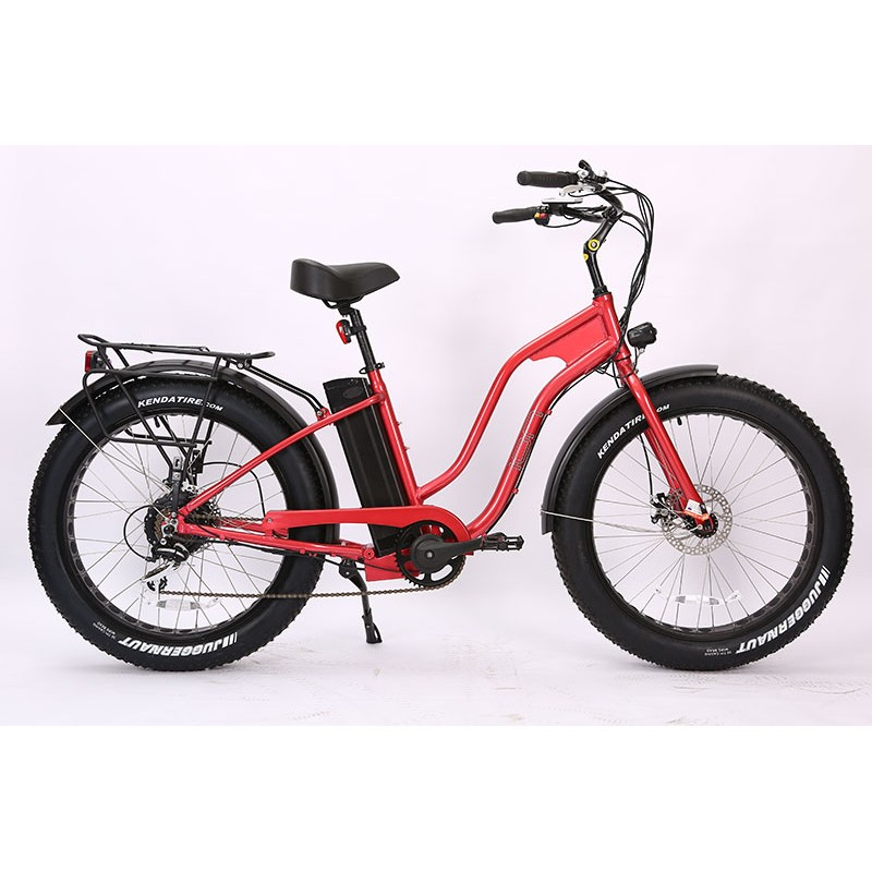 Metal Flake Red Ion Fat Tire Step Thru Electric Bike. Shimano 7 speed with Acera derailleur.
