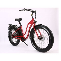 Metal Flake Red Ion Fat Tire Step Thru Electric Bike. Stylish, Functional and Fun!