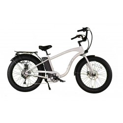 "ION EZ Rider Fat Tire Electric Beach Cruiser in ""White Gloss"""