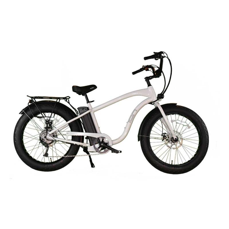 "ION EZ Rider Fat Tire Electric Beach Cruiser in ""White Gloss"""