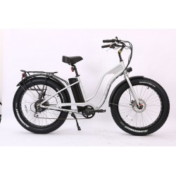 Silver Ion Fat Tire Step Thru Electric Bike. Shimano 7 speed with Acera derailleur.