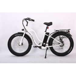 White Ion Fat Tire Step Thru Electric Bike 180mm Disc Brakes with Safety Motor Shut-Off.