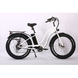 White Ion Fat Tire Step Thru Electric Bike. Shimano 7 speed with Acera derailleur.