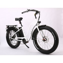 White Ion Fat Tire Step Thru Electric Bike. Stylish, Functional and Fun!