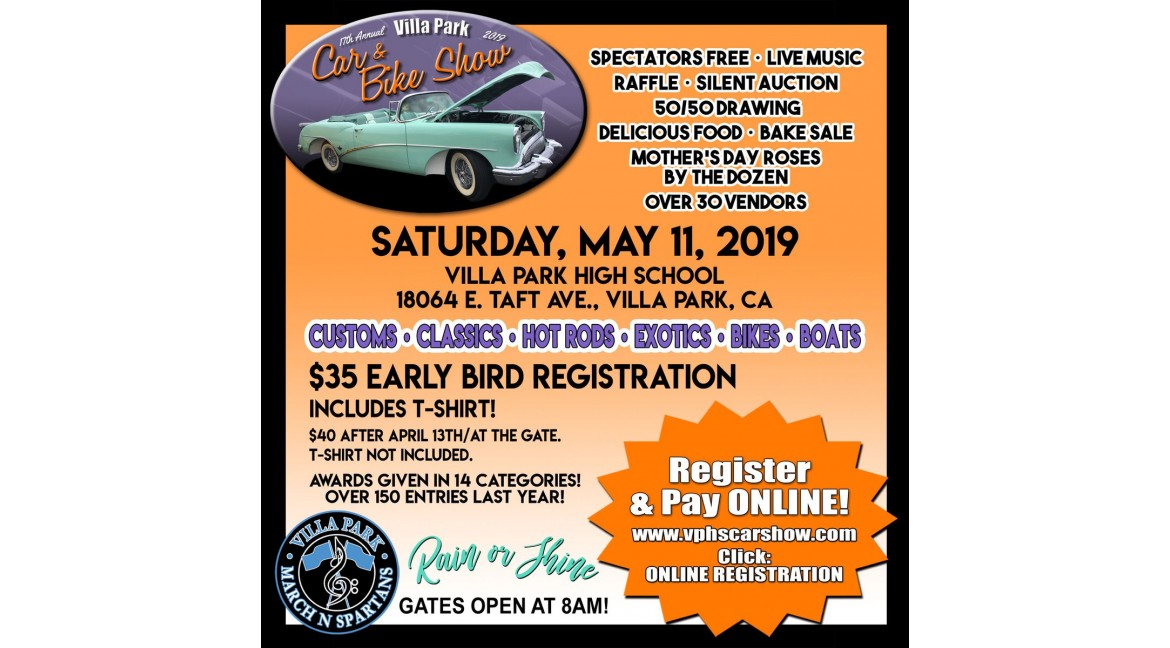 See Us At The 17th Annual Villa Park High School Car Show